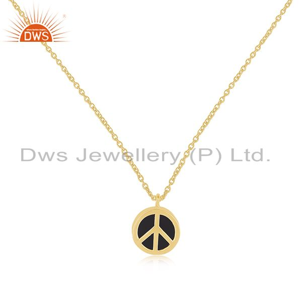 Genuine Sterling Silver Black Onyx Gemstone Peace Sign Pendant Wholesale India
