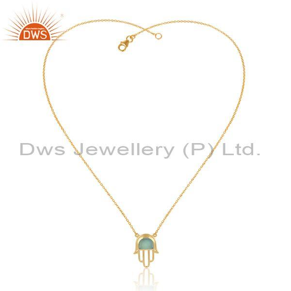 Gold on silver aqua chalcedony set hamsa pendant and chain
