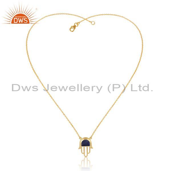 Gold On Sterling Silver Lapis Set Hamsa Pendant And Chain