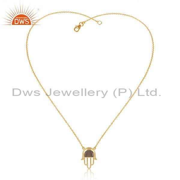 Smoky set gold plated sterling silver hamsa chain necklace