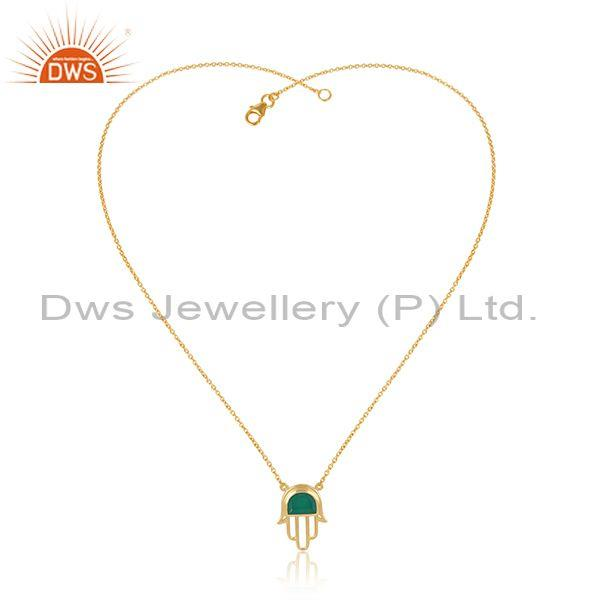 Gold on 925 silver green onyx set hamsa pendant and chain