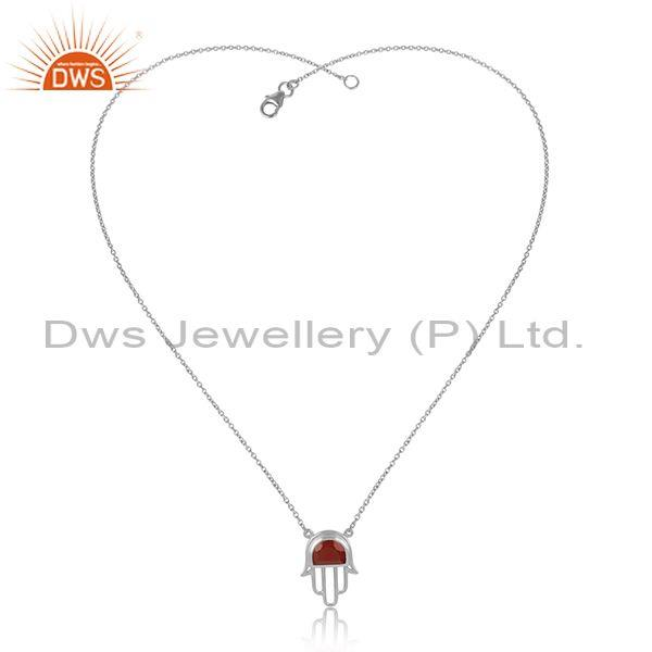 Fine Sterling Silver Red Onyx Set Hamsa Pendant And Chain