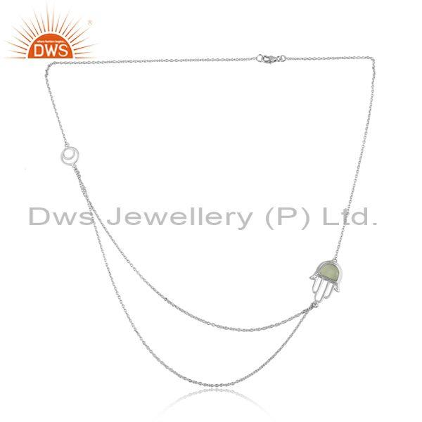 Prehnite Chalcedony Hamsa Sterling Silver Chain Necklace
