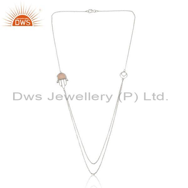 Rose Chalcedony Set Hamsa Pendant And Fine Silver Necklace