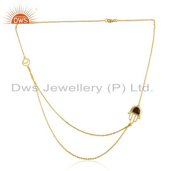Designer hamsa hand two row necklace in gold over silver with smoky