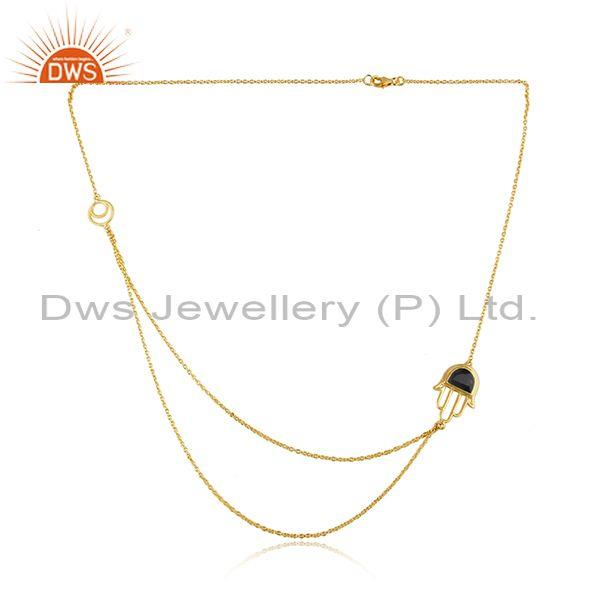 Black Onyx Hamsa Pendant And Gold On Silver Double Necklace