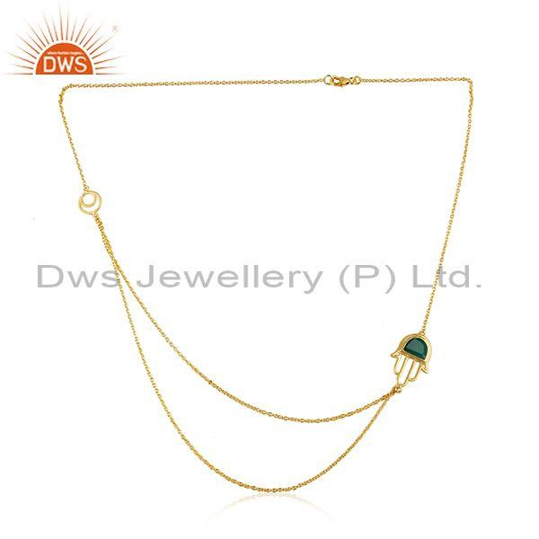 Designer hamsa hand green onyx gold over silver two row necklace