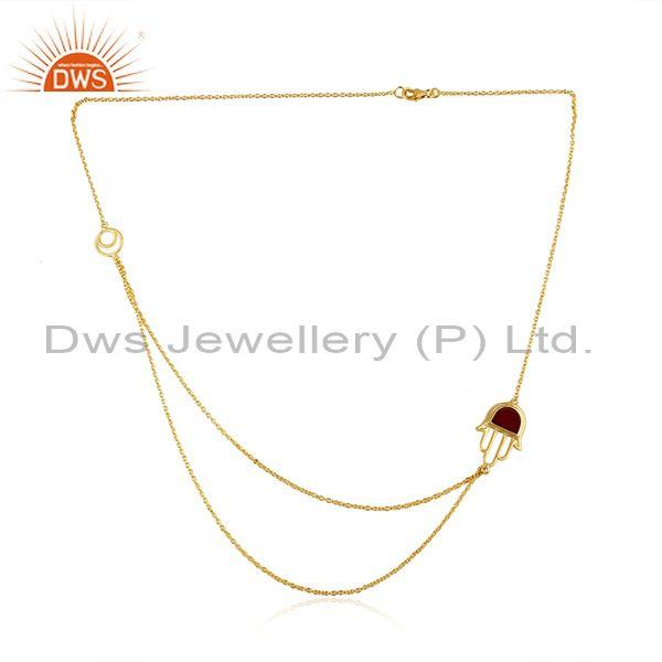 Red Onyx Hamsa Pendant  Gold On Silver Double Chain Necklace