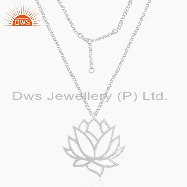 92.5 Sterling Fine Silver Chain Lotus Design Pendant Manufacturer of Jewellery