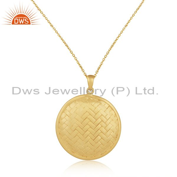 Handmade 925 Sterling Silver Gold Plated Chain Pendant Manufacturer of India