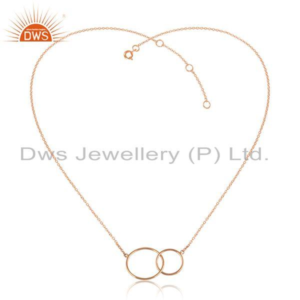 Rose gold plated handmade connected circle design silver necklace
