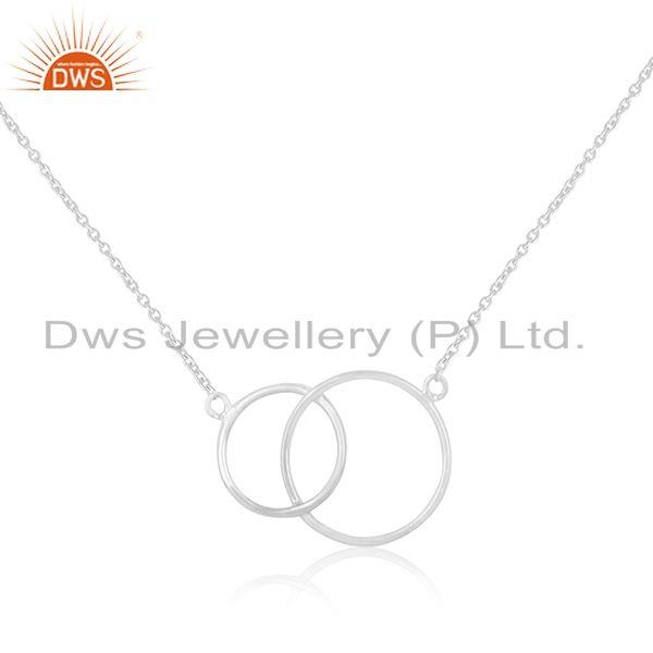 White Rhodium Plated 925 Sterling Silver Circle Design Pendant Manufacturer