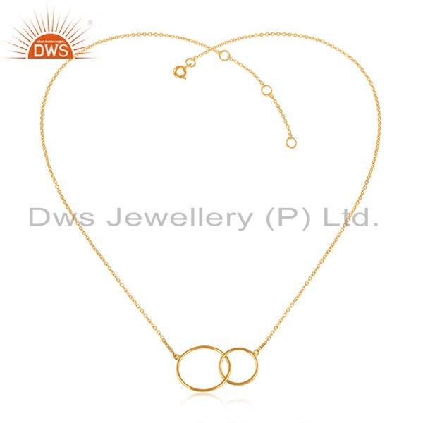 Designer double circle necklace in yellow gold over silver 925