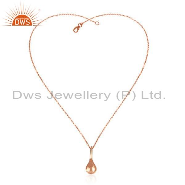 New rose gold plated plain silver drop design chain pendant jewelry