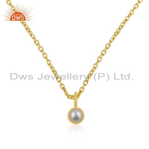 Natural pearl 92.5 sterling silver gold plated chain pendant manufacturer india