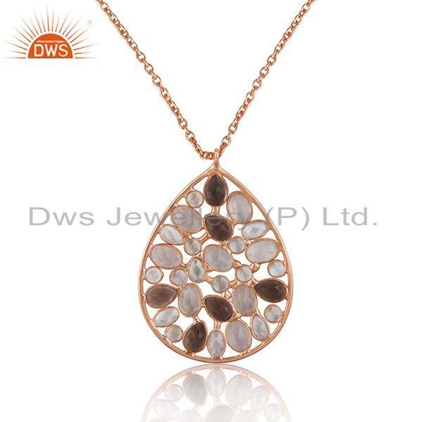 Multi Gemstone 925 Sterling Silver Rose Gold Plated Chain Pendant Manufacturer