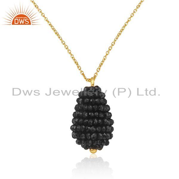 Natural black onyx beads silver chain pendant jewelry