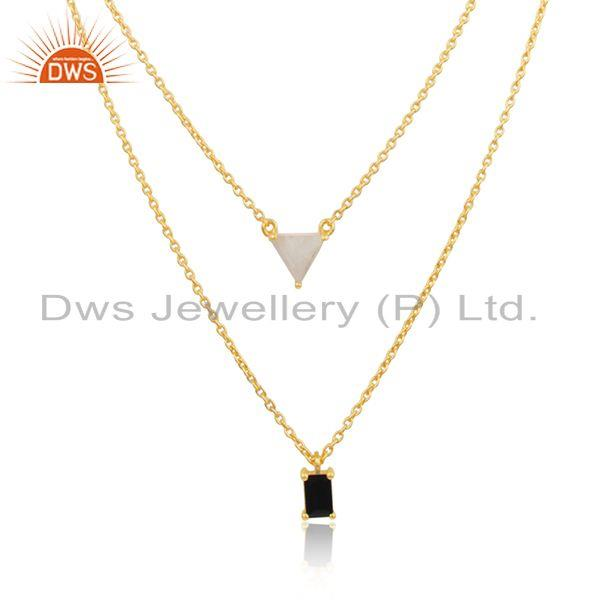 Multi Gemstone Gold Plated 925 Silver Chain Pendant Wholesale