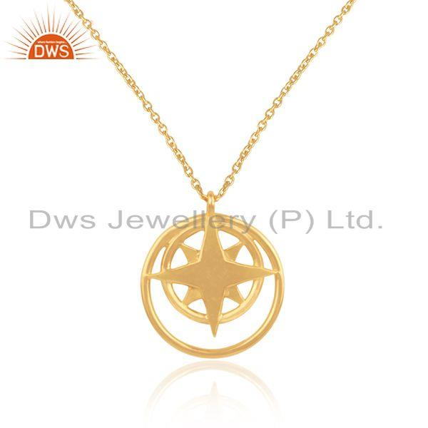 14k yellow gold plated 925 sterling silver plain chain compass pendant wholesale