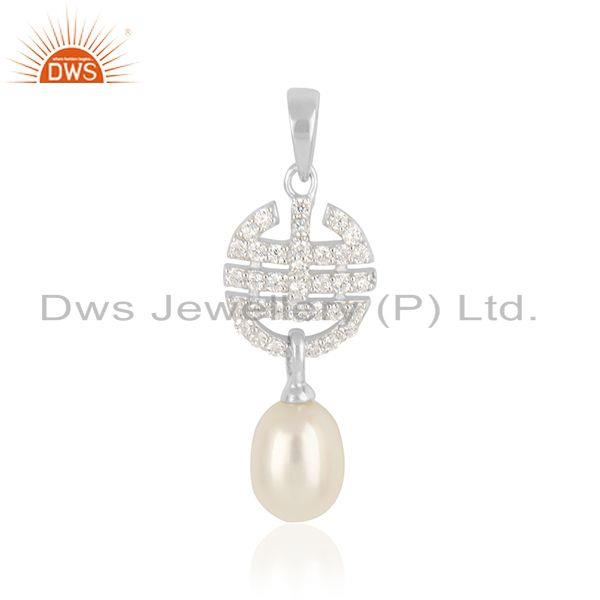 Indian Designer 925 Sterling Silver Natural Pearl Gemstone Pendant