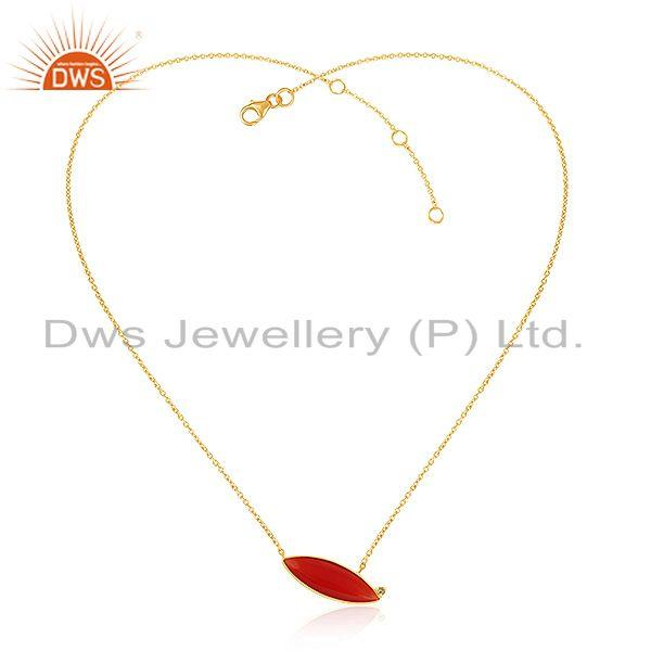Gold Plated 925 Silver Peridot Red Onyx Gemstone Chain Pendants