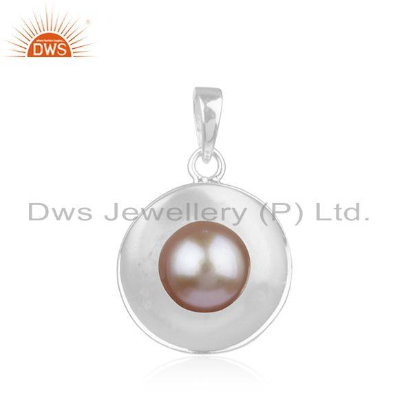 Natural Pink Pearl Gemstone Handmade Fine Sterling Silver Pendant