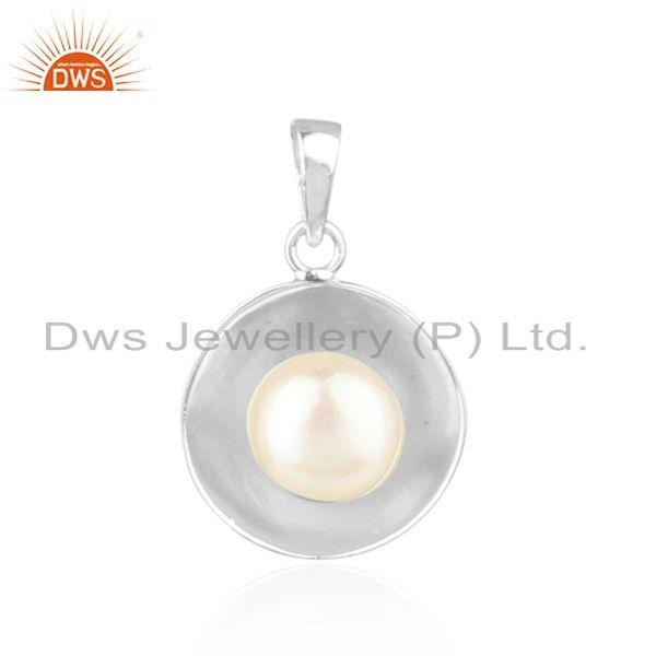 Natural Pearl Round Shape White Rhodium Plated Silver Pendant Jewelry