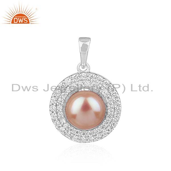 Natural gray pearl round design white rhodium plated silver pendant