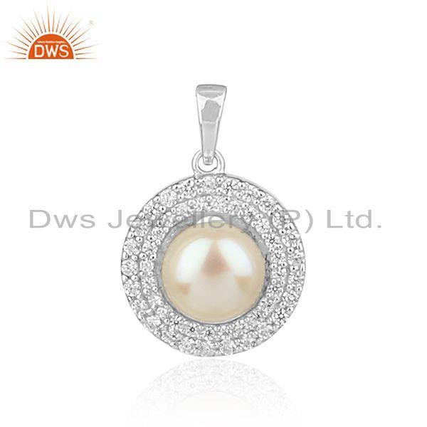 Zircon Natural Pearl Gemstone White Rhodium Plated Silver Pendants
