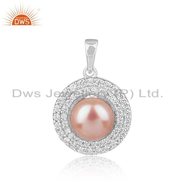 Zircon Natural Pink Pear Gemstone Round Sterling Silver Pendants