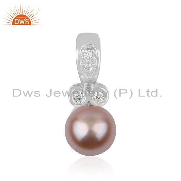 CZ Gray Pearl Gemstone Silver White Rhodium Plated Pendant Jewelry