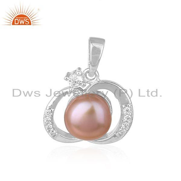 Designer White Rhodium Plated 925 Silver Gray Pearl Pendant Jewelry