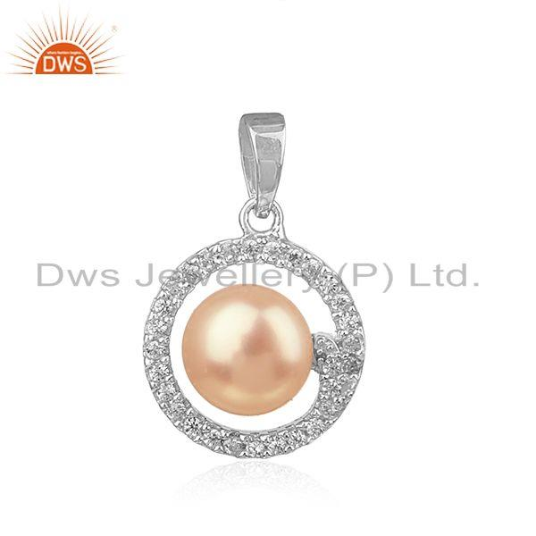 Natural cz pink pearl white rhodium plated silver round design pendant