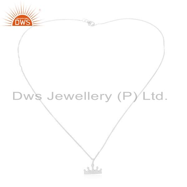 Indian 925 Sterling Silver Crown Design Womens Chain Pendant Jewelry