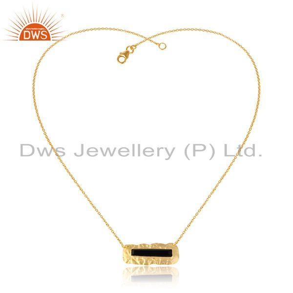 Texture Design Gold Plated Silver Black Onyx Gemstone Pendants