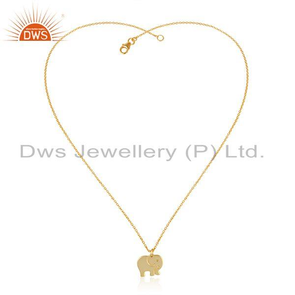 Indian Gold Plated Elephant Design 925 Plain Silver Chain Pendant
