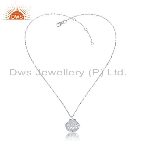 925 sterling fine silver shell design plain silver chain pendant