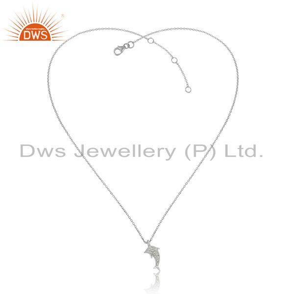 White Zircon Gemstone 925 Sterling Fine Silver Chain Pendant