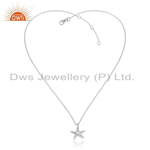 Star design women plain 925 sterling silver chain pendant jewelry
