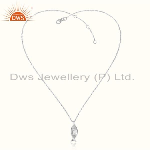 Fish design 925 sterling fine plain silver women chain pendant