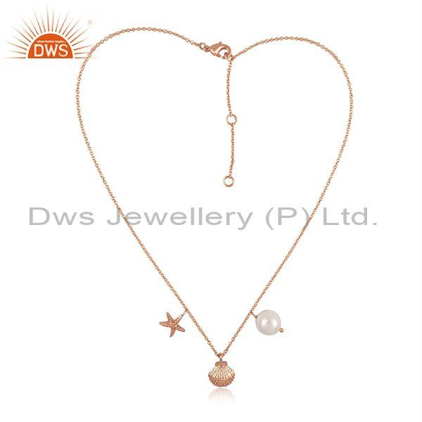 Pearl, star, round charm set rose gold on silver necklace