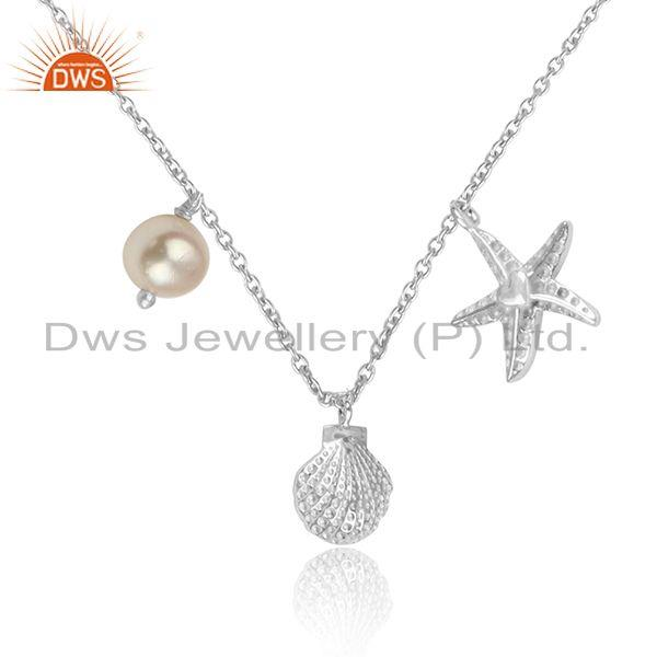 Womens Charms Design 925 Sterling Fine Silver Pearl Necklaces