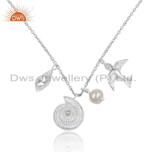 Natural Pearl Designer 925 Sterling Fine Silver Charm Necklace