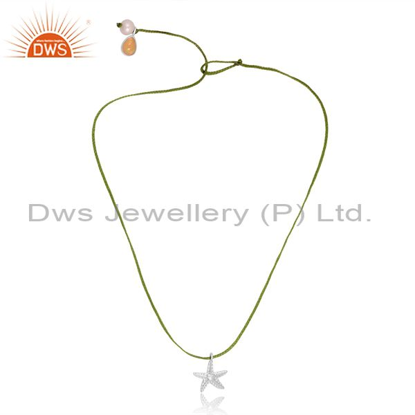 Star charm sterling silver and dori pearl ethiopian opal necklace