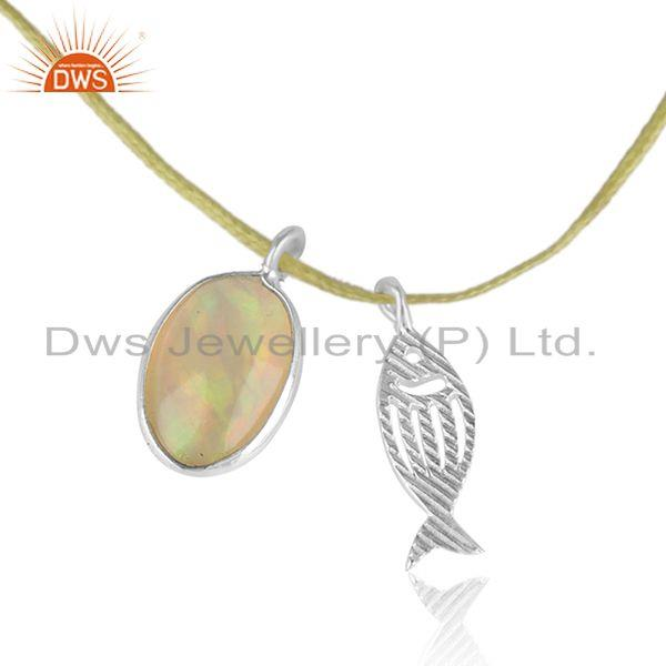 Pearl Ethiopian Gemstone Fish Charm Sterling Silver Dori Necklace