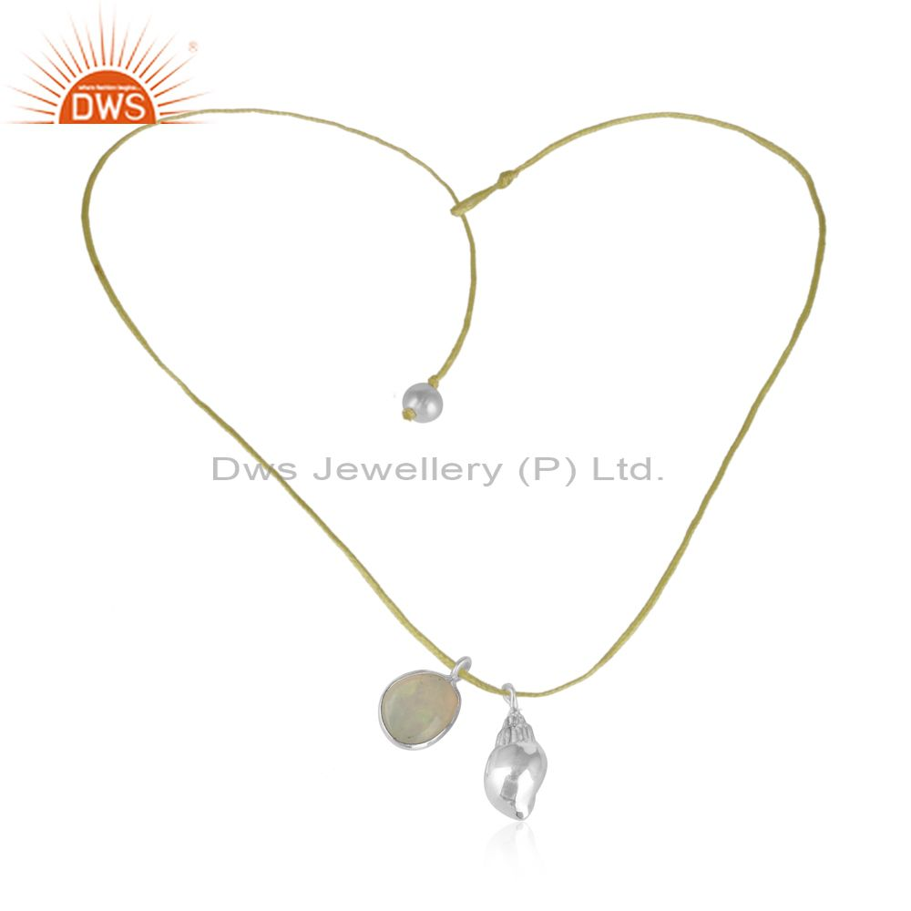 Pearl Ethiopian Opal Conch Charm 925 Sterling Fine Silver Necklace