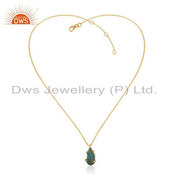 Natural Apatite Gemstone Gold Plated Silver Chain Pendant Jewelry