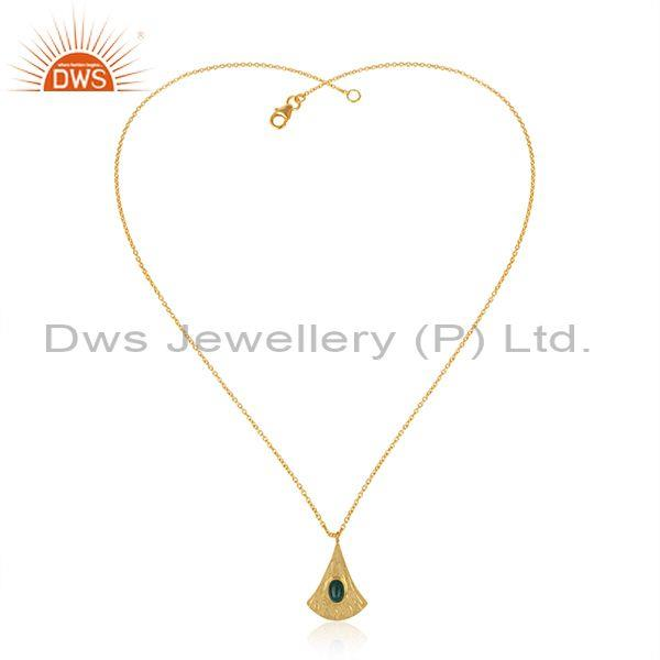 Handtextured Gold on Silver 925 Dyed Emerald Chain Pendant