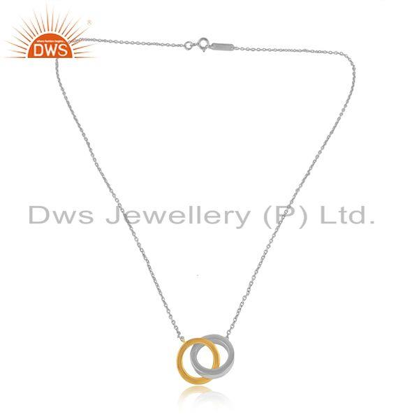 Tow Tone Plating Designer Circle Plain Silver Chain Pendants