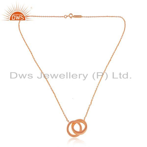 Rose gold plated connected circle design plain silver chain pendant